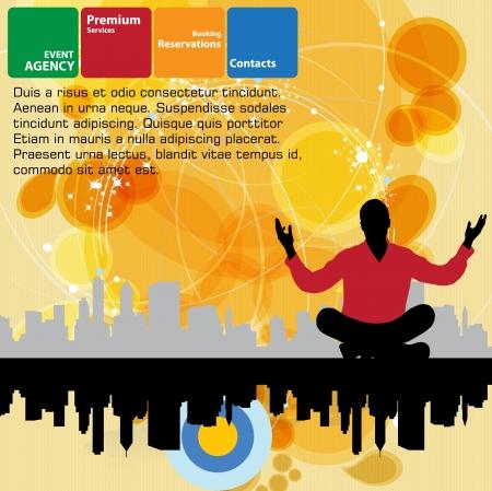 energy healing: illustration of man silhouette meditating