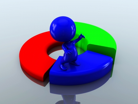 discord: 3d person with financial chart Stock Photo