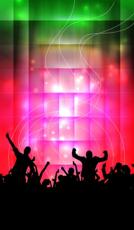 dj party: Dancing people  Concert illustration  Stock Photo