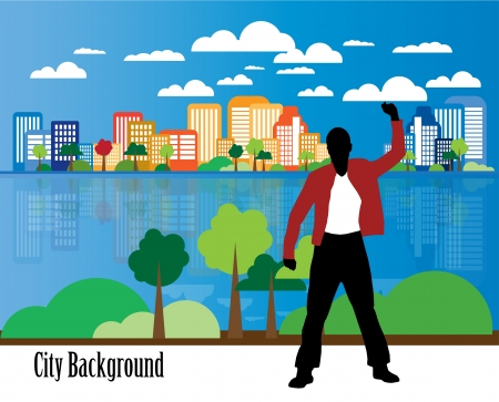 Young businessman with city background  Vector