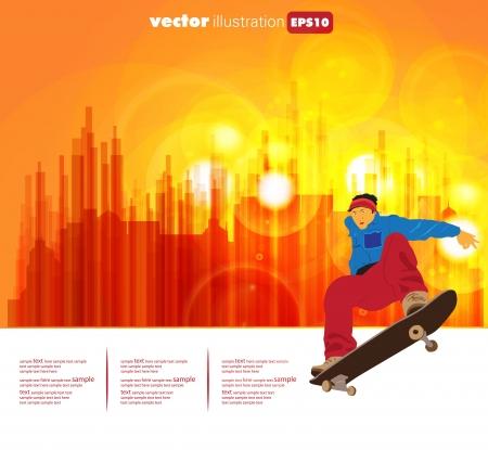 racing skates: Skateboarder on street Illustration