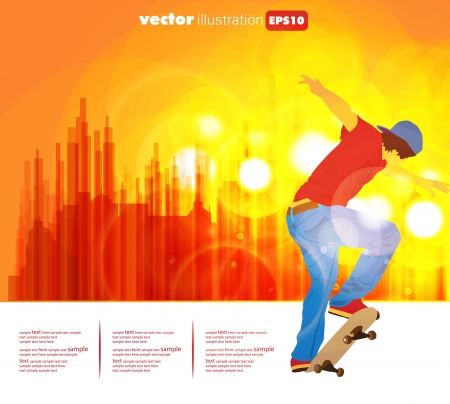Skateboarder on street Vector