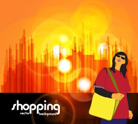 Shopping woman Stock Vector - 16953486