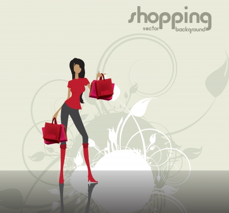 Fashion woman at the shopping  Stock Vector - 15764271