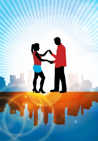 cinematic: Vector illustration of a couple dancing  Illustration