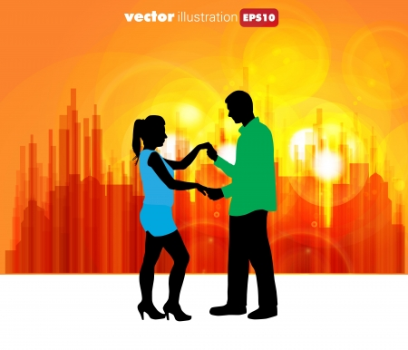 poise: Vector illustration of a couple dancing  Illustration