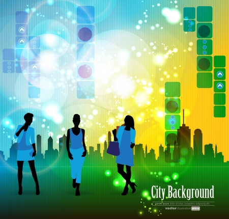 Shopping women with city in background  Stock Vector - 15741825