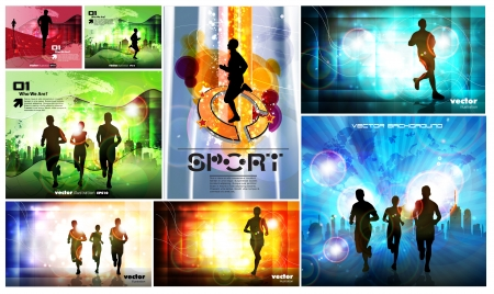 group fitness: Editable vector illustration of a running man