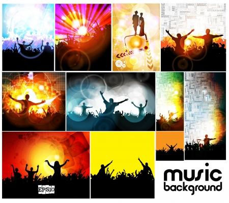 nightclub crowd: Music event illustration set Illustration