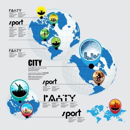Info graphic of music, sport and shopping on the world  Vector