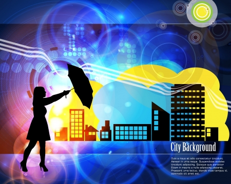 Woman with umbrella Stock Vector - 15948990