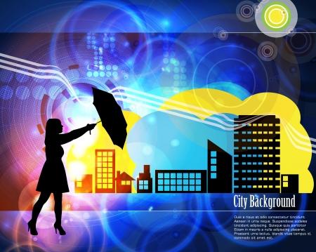 elation: Woman with umbrella Illustration