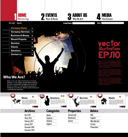 Website template with music event subject Vector