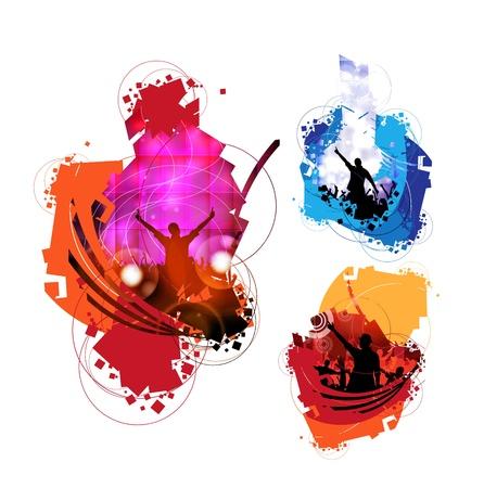 Vector illustration des gens qui dansent
