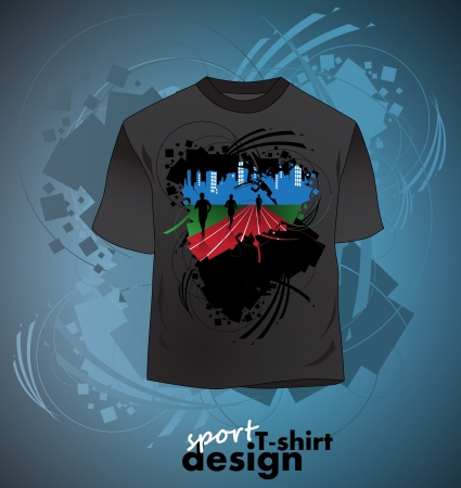 sport wear:  T-shirt design of sports Illustration
