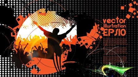 Dancing people  Vector illustration  Stock Vector - 16144373