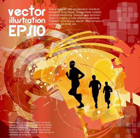 Editable vector illustration of a running man