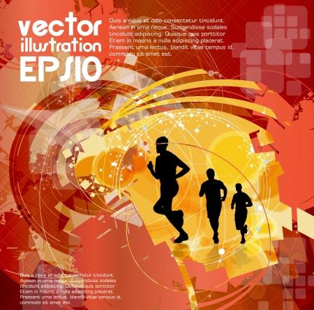 endurance run: Editable vector illustration of a running man