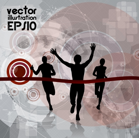 finishing line: Editable vector illustration of a running man