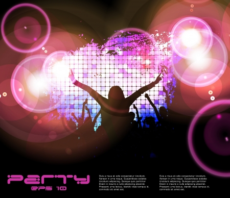 nightclub party: Discoteque music background Illustration