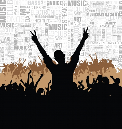 Music event illustration. Dancing people  Vector