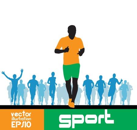 adrenaline: Marathonlopers man Stock Illustratie