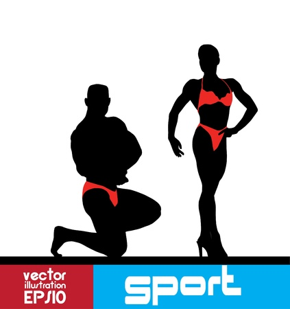 Bodybuilding. illustration.  Vector