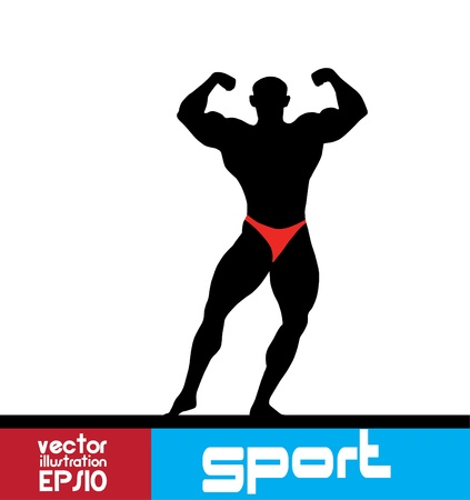 muscular build: Bodybuilding. illustration.  Illustration