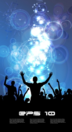 crowd of happy people: Music event illustration  Vector  Illustration