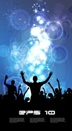 nightclub crowd: Music event illustration  Vector  Illustration