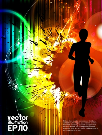 marathon runner: Sport vector illustration Illustration