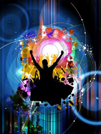 Foule Clubbing de danser les gens Banque d'images