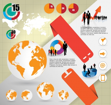 World Map and Information Graphics Stock Vector - 16926751