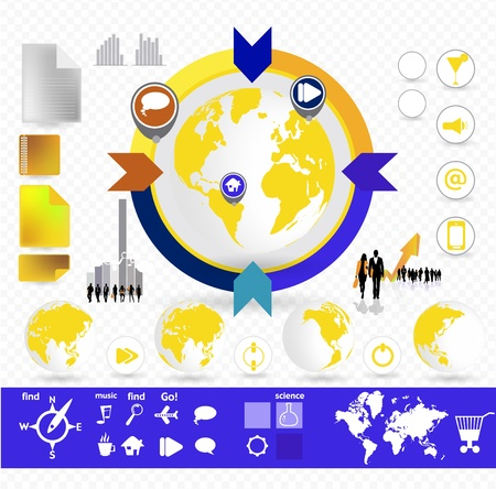 World Map and Information Graphics Stock Vector - 16926744