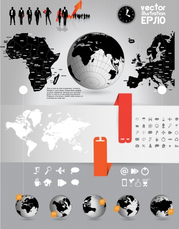 World Map and Information Graphics Stock Vector - 16937018