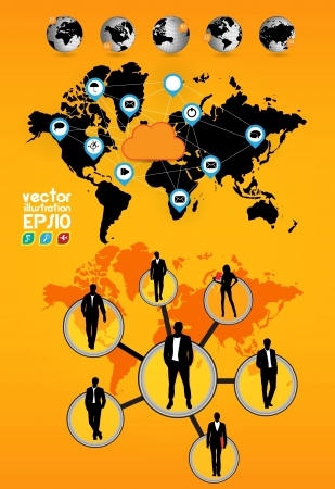 World map and business team Stock Vector - 16983077