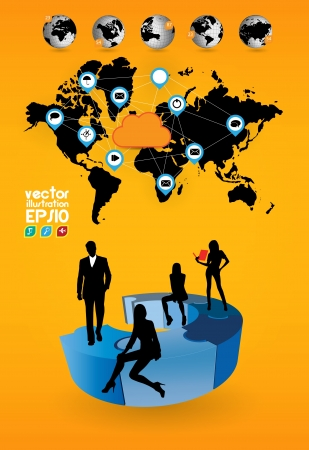 World map and business team Vector