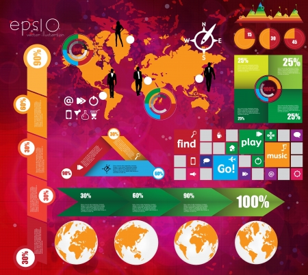 World Map and Information Graphics Stock Vector - 17289591