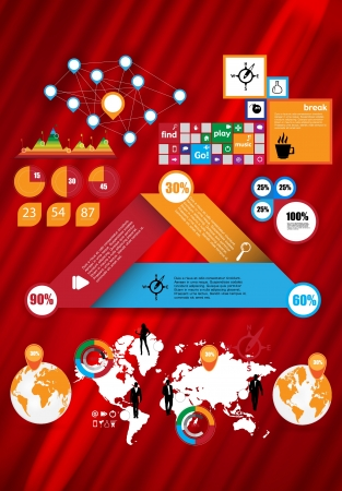 World Map and Information Graphic Elements  Vector