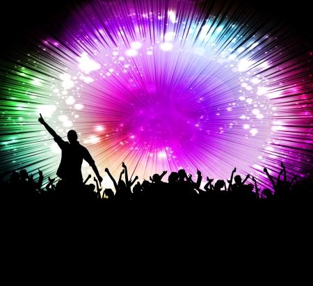 concerto rock: Siluetas de multitud de conciertos