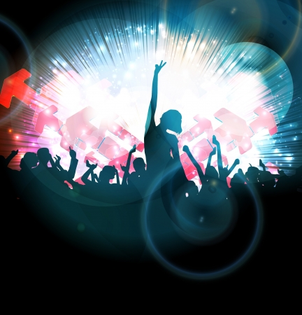 Silhouettes of concert crowd Stock Photo - 17122833