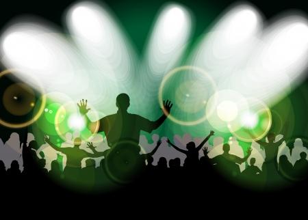 Cheering crowd at concert Stock Vector - 17156990