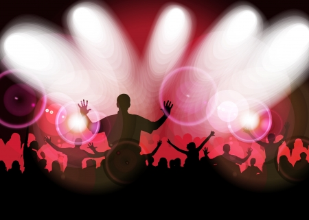 cheering crowd: Cheering crowd at concert Illustration