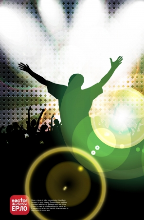 Clubbing. Crowd of young dancing people Vector