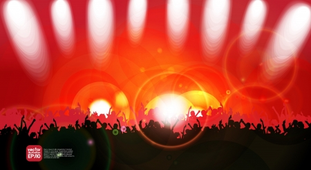 nightclub crowd: Concert crowd in front of bright stage Illustration