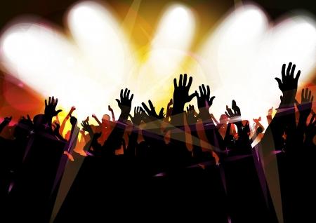 Concerto folla davanti palco luminoso
