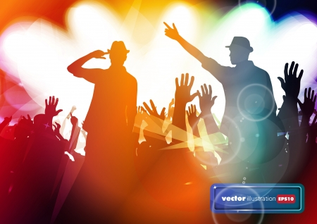 Clubbing. Crowd of young dancing people Stock Vector - 17157024