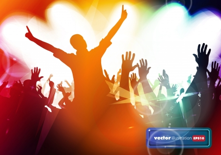 Clubbing. Crowd of young dancing people Stock Vector - 17157044