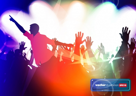 Clubbing. Crowd of young dancing people Stock Vector - 17157073