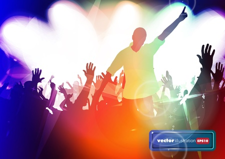 Clubbing. Crowd of young dancing people Stock Vector - 17156950